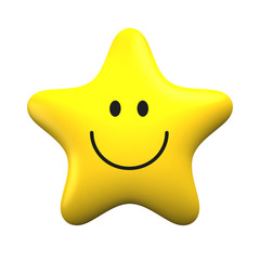 Yellow smiling star isolater on white background