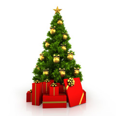 Christmas tree with red gift boxes isolated on red background