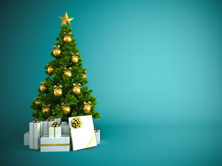 Christmas tree with gold decor isolated on blue background