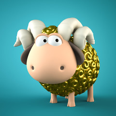 Symbol of 2015. Gold Sheep on blue background. Illustration of 2