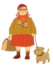Plump girl in glasses with a dog on a leash