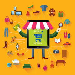 Online shopping and business. Conceptual background.