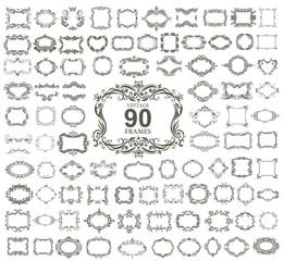 Set of 90 vintage floral frames.