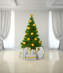 Christmas tree winh gold decor in classic style room 3D renderin