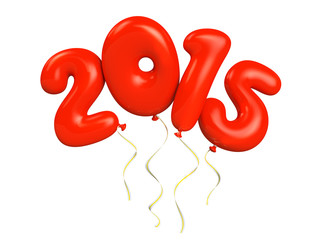 Red air ballons 2015 isolatwd on white background 3D illustratio
