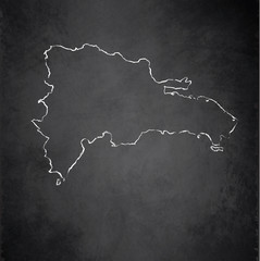 Dominican Republic map blackboard chalkboard vector