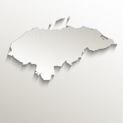 Honduras map card paper 3D natural vector