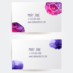 Set of two creative business card templates with artistic vector