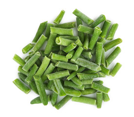 Heap of frozen green beans isolated on white background.
