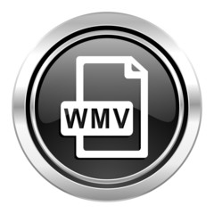 wmv file icon, black chrome button