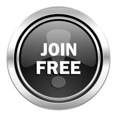 join free icon, black chrome button