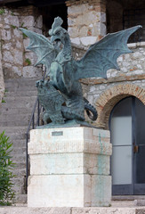 Mythological Creature Bronze Statue at Trsat Castle in Rijeka