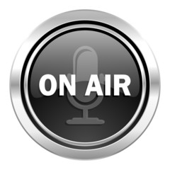 on air icon, black chrome button