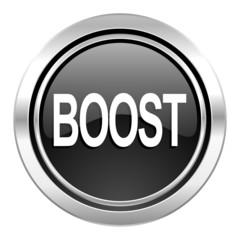 boost icon, black chrome button