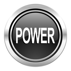 power icon, black chrome button