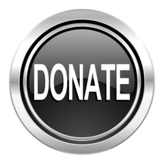 donate icon, black chrome button