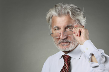 Wise businessman with white hair and beard