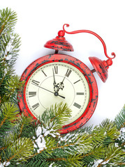 Christmas background with clock, snow fir tree