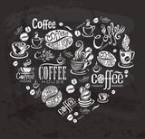 Fototapety Coffee labels. Design elements on the chalkboard.