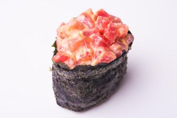 Salmon gunkan sushi