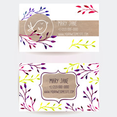 Business card templates with branches and craft paper