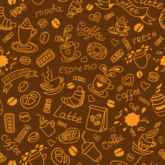 Seamless coffee background. Bakery products.