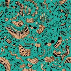 Musical seamless background. Doodles pattern.