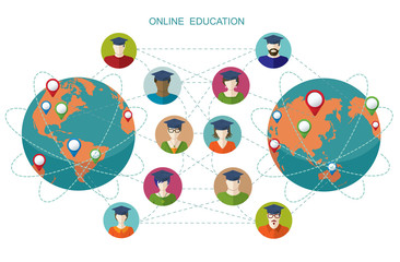 Online learning. Conceptual banner. People flat icons.