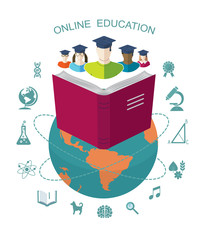 Online education. Conceptual banner with flat icons  .