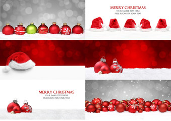 Weihnachtshintergründe mit Kugeln / Schnee / Mütze