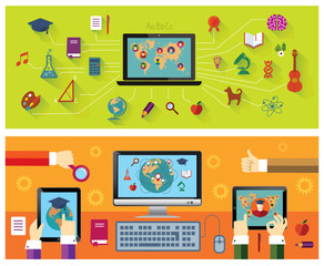 Online education. Modern technology. Education icons.