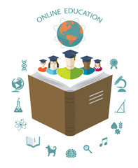 Online education. Conceptual background with flat icons.