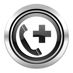 emergency call icon, black chrome button