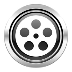 film icon, black chrome button