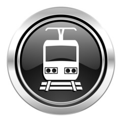 train icon, black chrome button, public transport sign