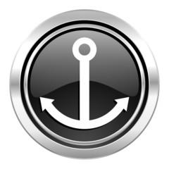anchor icon, black chrome button, sail sign