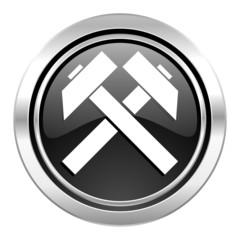mining icon, black chrome button