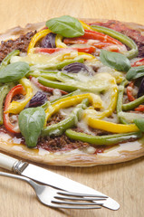 home made pizza with bell pepper
