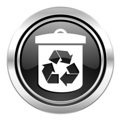 recycle icon, black chrome button, recycling sign