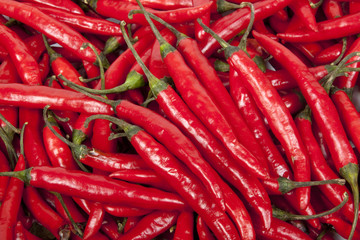 Closeup Collection of Bright Shiny Red Chillies