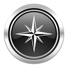 compass icon, black chrome button