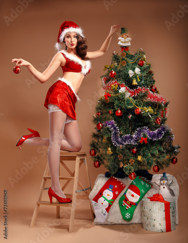 Foto op Canvas Carnaval Girl in sexy suit of Santa Claus near the Christmas tree
