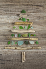 Driftwood christmas tree with polished green glass
