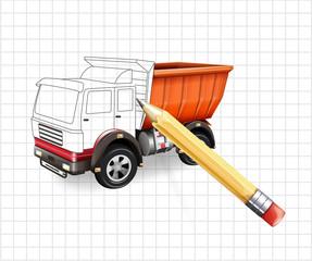 Vector truck sketch vector illustration