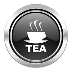 tea icon, black chrome button, hot cup of tea sign