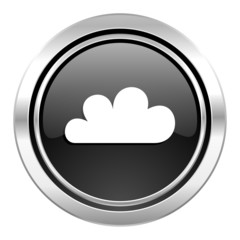 cloud icon, black chrome button, waether forecast sign