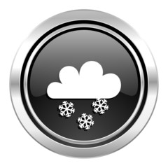 snowing icon, black chrome button, waether forecast sign