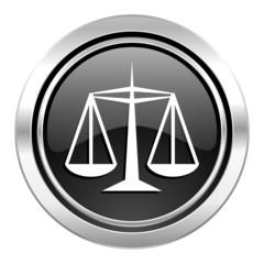 justice icon, black chrome button, law sign
