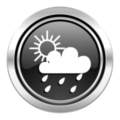 rain icon, black chrome button, waether forecast sign