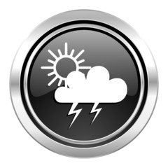 storm icon, black chrome button, waether forecast sign